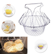 CALISTOUS Foldable Steam Rinse Strain Fry Chef Basket Strainer Net Kitchen Cooking Tool