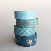 4 rolls of Teal Washi Tapes Bundle Package / Gift / Cool washi tape / decoration tape / Lunarbay Washi Tape / Lunarbaystore.com