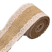 Gilroy 2M Vintage Burlap Ribbons with White Laces for DIY Handmade Wedding Crafts Lace Linen