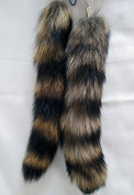 2 pcs 25cm 10inches Authentic America Raccoon Tail Fur Skin Cosplay Toy Handbag Accessories Key Chain Ring Hook