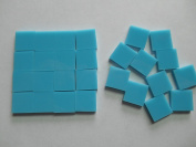 FortySevenGems 100 Pieces Teal Blue Opaque Stained Glass Mosaic Tiles 1.3cm x 1.3cm