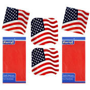 Memorial Day 2107 Patriotic Paper Plates, Napkins, Table Cloth Serves 28 Paper Red, White, Blue, Stars and Stripes Double Pack