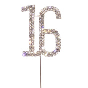 Maticr Glitter Sweet 16 Cake Toper, Sweet Sixteen Candles 16th Birthday Party Supplies Decorations Sliver