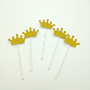 Paity 24pcs/lot Gold Glitter Crown Cupcake Toppers Party Picks Baby Shower Birthday Party Food Picks
