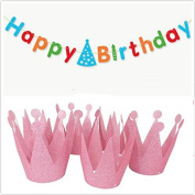 IMagicoo 6 Pcs Shimmering Glitter Birthday Crown Hats + 1 Happy Birthday Banner