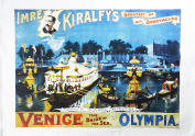 Venice at Olympia - Retro Style Theatre Poster Large Cotton Tea Towel by Half a Donkey