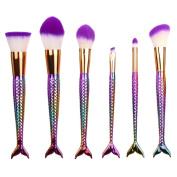 Bolayu 6Pcs Powder Foundation Brush, Eyeshadow Lip Brush, Pro Makeup Cosmetic Brushes Set