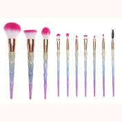 Bolayu 10Pcs Powder Foundation Eyeshadow Lip Brush Makeup Cosmetic Brushes Set