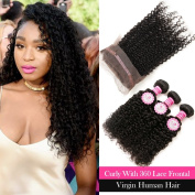 "ANNMODE Hair 9A Grade Brazilian Virgin Human Hair Kinky Curly Hair 3 Bundles With 360 Full Lace Band Frontals 60cm x 10cm x 2"" Lace Band Frontal Closure Extensions Mixed Length 16 16 16+36cm"