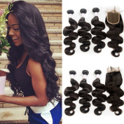 Brazilian Body Wave Wth Closure Real Human Hair Extensions 3 Bundles With Closure Virgin Brazilian Hair Natural Colour Brazilian Wavy Hair