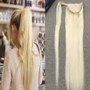 Full Shine 46cm 100g One Piece Ponytail Hair Extensions Remy Hair Wrap Around Solid Colour #613 Blonde 100% Real Human Straight Hair