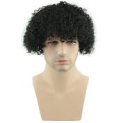 SinoArt Afro Kinky Curly Short Wig 100% Brazilian Remy Human Hair 130% Density Short Wig Toupee Hairpiece for Men