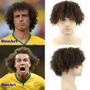 SinoArt Afro Kinky Curly Short Wig 100% Brazilian Remy Human Hair 130% Density Short Wig for Toupee Hairpiece Men