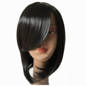 Short Black/Brown Wig Synthetic Hair Bob Wigs For Black Women Fashion Girls Silky Straight Wigs With Side Bangs