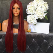 Hesperis Brazilian Human Hair Burgundy Colour Silky Straight Full Lace Wigs 130 Density Long Straight Glueless 99J Lace Front Human Hair Wigs Baby Hair For Black Women