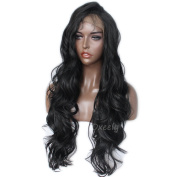 Heat Resistant Body Wave Synthetic Lace Front Wigs Black Synthetic Lace Front Wig With Baby Hair For Women30inches