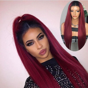 RIJIA 1BT99J Ombre Human Hair Full Lace Wig Straight Burgundy Two Tone 1B 99J Glueless Front Lace Wigs 130%Density Ombre Virgin Hair Wigs