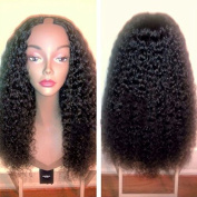Unprocessed Kinky Curly U Part Brazilian Human Hair Wig 25cm - 60cm 130% Density #1b Natural Black for Black Women