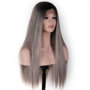 V'NICE Long Ombre Grey Lace Front Wig Synthetic Hair Wigs for Women Staright Heat Resistant Fibres