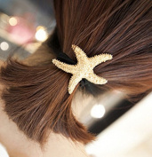FASCHI Fashion Ponytail Holder, Gold Starfish V Shield Faux Pearl Bow Antique Silver 3D Skeleton Skull Hair Band Styling Jewellery Accessories Bracelet Women GIFT