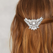 FASCHI Silver Clear Crystal Angel Wing Hair Comb Feather Leaf Rhinestone Hairpin Bridal Wedding Birthday Party Hair Accessories Jewellery