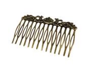 2Pcs Retro Bronze Hair Comb Flower Vine Cirrus Mini Comb Decorative Comb