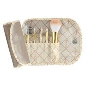 Jacki Design Vintage Allure 5 Pc Make Up Brush Set And Bag, Cream