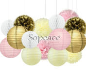 Sopeace Pack of 15 8''(20cm) Gold Pink IvoryPaper Crafts Tissue Paper Honeycomb Balls Lanterns Paper Pom Poms Birthday Wedding Party Decoration