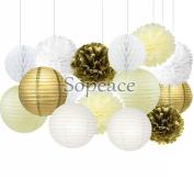 Sopeace 15 Pcs Pcs Cream Gold White Tissue Pom Poms Paper Flowers Paper Lanterns for Birthday Party Decoration