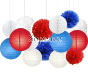 Sopeace 15 Pcs Red & Royal Blue Tissue Hanging Paper Pom-poms, Flower Ball Wedding Party Outdoor Decoration Premium Tissue Paper Pom Pom Flowers Craft Kit