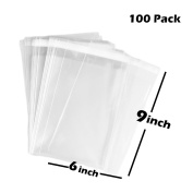 TripodGo 100 Pcs 6x9 Self-sealing Clear Cellophane Bags, Resealable Cello, for Snake Bakery Candle Soap Cookie T-shirt Bags