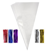 JUSLIN 200pcs Clear Cone Shaped Treat Bags, 18cm x 38cm with Twist Ties, 7.6cm , for Cookies Christmas Candy and Popcorn Packaging