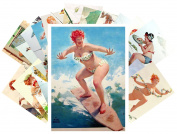 Pinup Postcard Pack 24pcs Chubby Sexy Girl Redhead Hilda Vintage illustrations