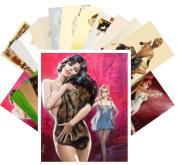 Pinup Postcard Pack 24pcs Vintage Pulp Fiction Illustration Sexy Girls Willis Paul Rader