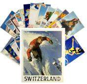 Postcard Pack 24pcs Ski Winter Sport Vintage Travel Poster Magazine