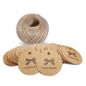 100 PCS 'Handmade' Printed Kraft Paper Hang Tags Craft Gift Tags with 30m Jute Twine