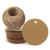 100pcs Brown Kraft Gift Tags Wedding Favour Paper Tags with Jute Twine 30 Metres Long for Crafts & Price Tags Labels
