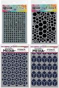 Ranger Graphic Square Stencils Bundle - 4 Items
