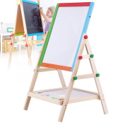 Adjustable Children Kids 2 In 1 Black / White Wooden Easel Chalk Drawing Board E