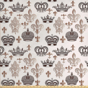 Fleur De Lis Decor Fabric by the Yard by Ambesonne, Crowns and Fleur de Lis in Engraved Style Luxurious Fame Symbolic Artwork, Decorative Fabric for Upholstery and Home Accents