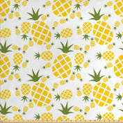 Pineapple Decor Fabric by the Yard by Ambesonne, Pineapple Pictogram Decorative Vintage Pattern Farm Vibrant Colour Artwork, Decorative Fabric for Upholstery and Home Accents