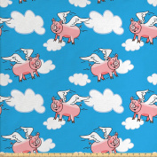 Pig Decor Fabric by the Yard by Ambesonne, Flying Pig Cartoon Characters With Wings to Represent the Saying, Great Kid Clouds, Decorative Fabric for Upholstery and Home Accents