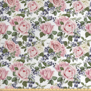 Roses Decorations Fabric by the Yard by Ambesonne, Floral Pattern with Roses Leaf Peony Plant Curl Flower Arrangement Watercolour Effect Art, Decorative Fabric for Upholstery and Home Accents