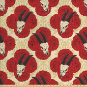 Gothic Decor Fabric by the Yard by Ambesonne, Goat Skull on Red Roses Horn Pattern Animal Bone Traditional Symbol Art Print, Decorative Fabric for Upholstery and Home Accents