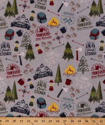Cotton Boy Scouts of America BSA Council Camps Reservations Camping Equipment Backpacks Lanterns Ax Axes Compass Rose Campfires Outdoors Nature Modern Scouting Cotton Fabric Print BTY