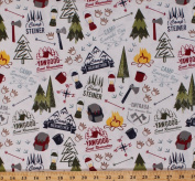 Cotton Boy Scouts of America BSA Council Camps Reservations Camping Equipment Backpacks Lanterns Axes Compass Rose Campfires Outdoors Nature Modern Scouting Cotton Fabric Print BTY