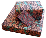 Re-wrapped - 1 sheet with 2 matching swing tags of eco friendly recycled birthday gift wrap wrapping paper - Pink and Purple Tents by UK designer Emily Chapman