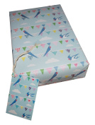 Re-wrapped - 1 sheet with 2 matching swing tags of eco friendly recycled birthday gift wrap wrapping paper - Blue Bunting by UK designer Vicky Scott