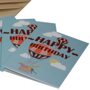 Re-wrapped - 1 eco friendly recycled greeting birthday card with coffee envelope - Blue Hot Air Balloons by UK designer Louise Thomas