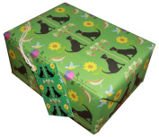 Re-wrapped - 1 sheet with 2 matching swing tags of eco friendly recycled birthday gift wrap wrapping paper - Green Cats by UK designer Vicky Scott